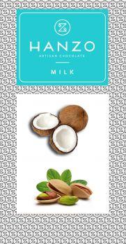 Mliečna čokoláda s kokosovo-pistáciovým krémom